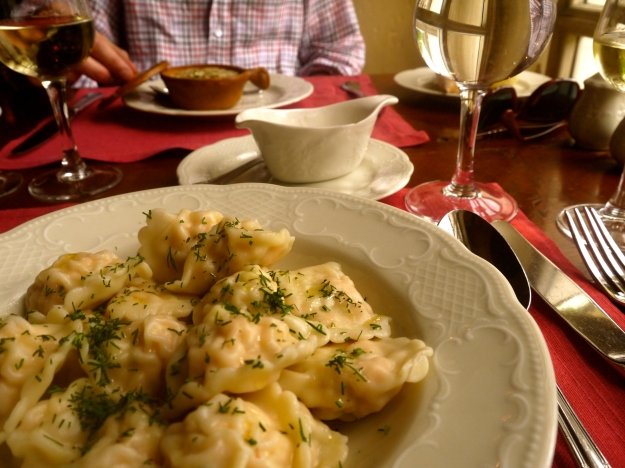 Pelmeni (dumplings) stuffed with salmon