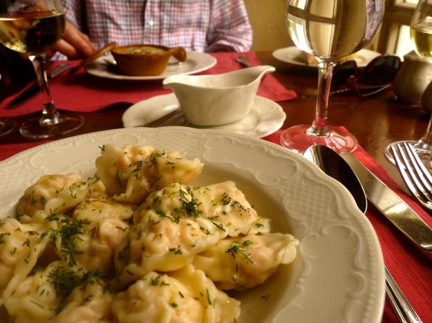 Pelmeni (dumplings) stuffed with salmon