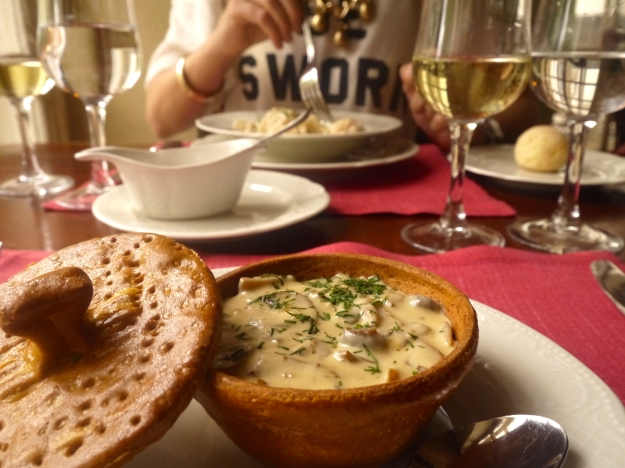 Mushrooms a la pulet | mix of white mushrooms, champignons, chanterelles baked in a sour-cream sauce