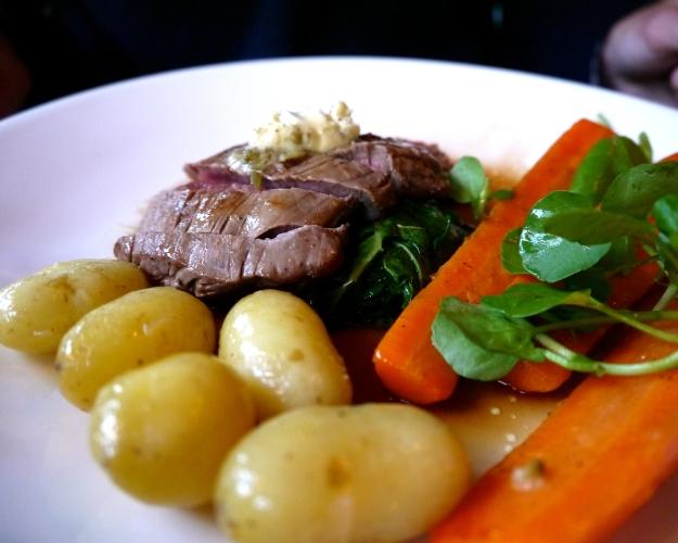 Bavette | Jersey Royals, confit carrot, caper & horseradish butter, watercress