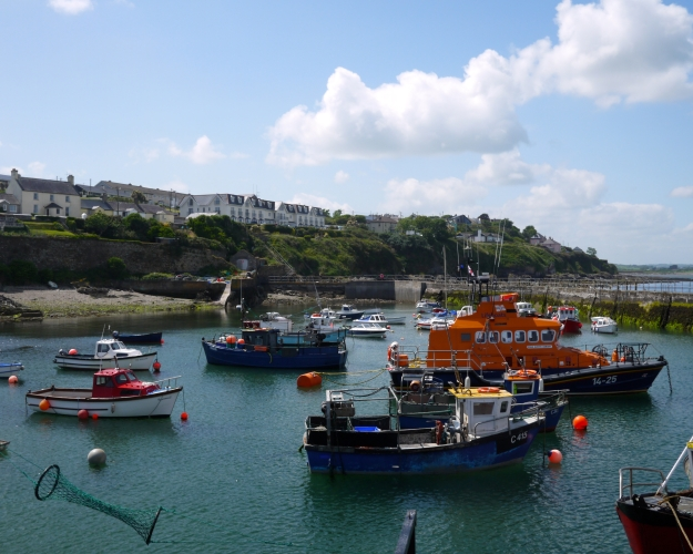 Colorful fishing fleet in the Ballycotton harbor