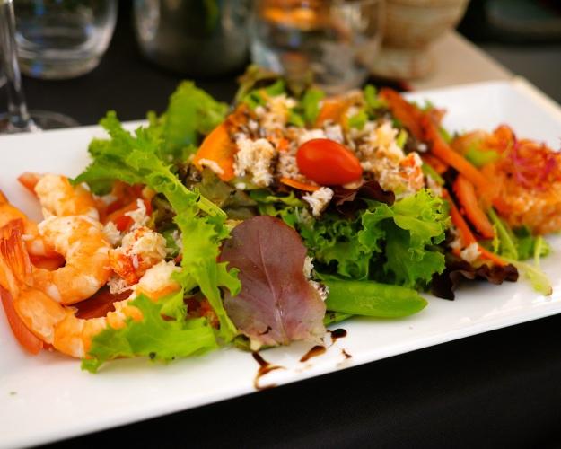 Rose shrimps, tomatoes, mesclun salad, peas, salmon tartare, celery remoulade