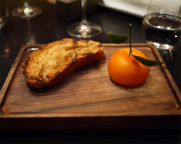 Mandarin, chicken liver & foie gras parfait, grilled bread