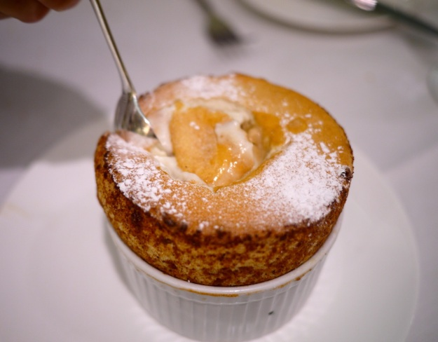 Banana soufflé with pain d'espices ice cream