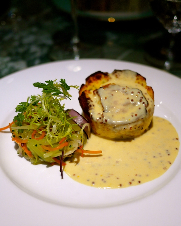 Twice-Baked Shropshire Ham & Barbers Cheddar Soufflé with Honey Mustard Butter Sauce