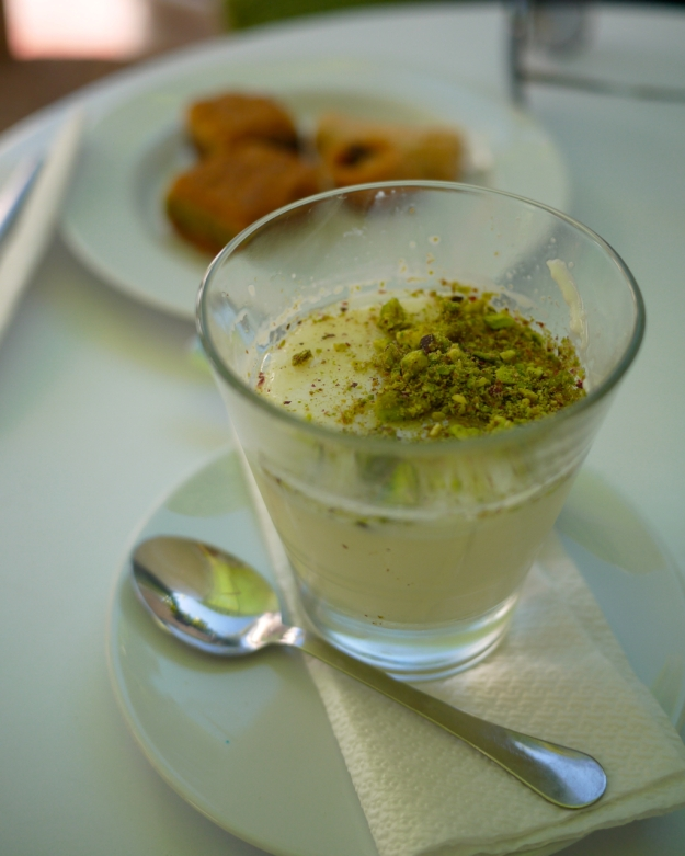 Mouhalabiyeh (Yogurt with pistachio nuts and orange blossom water)