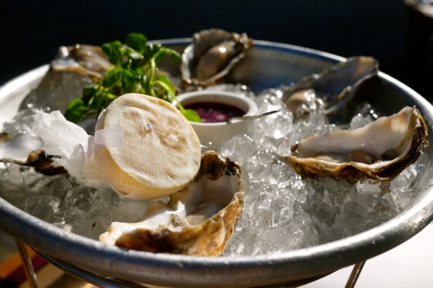 Carlingford rock oysters with shallot dressing