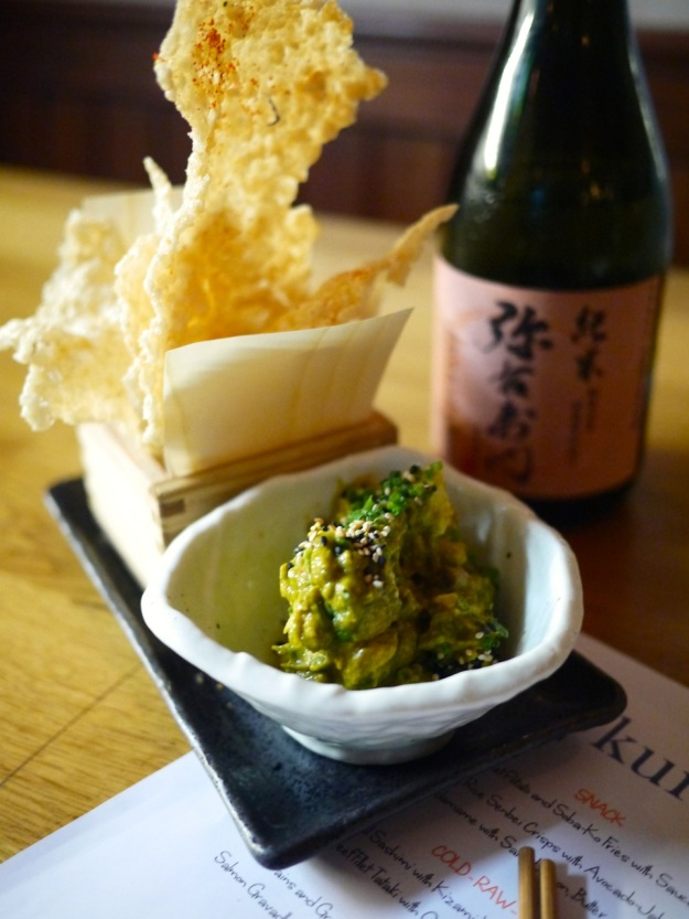 Crunchy Rice Senbei Crisps with avocado-jalepeno dip