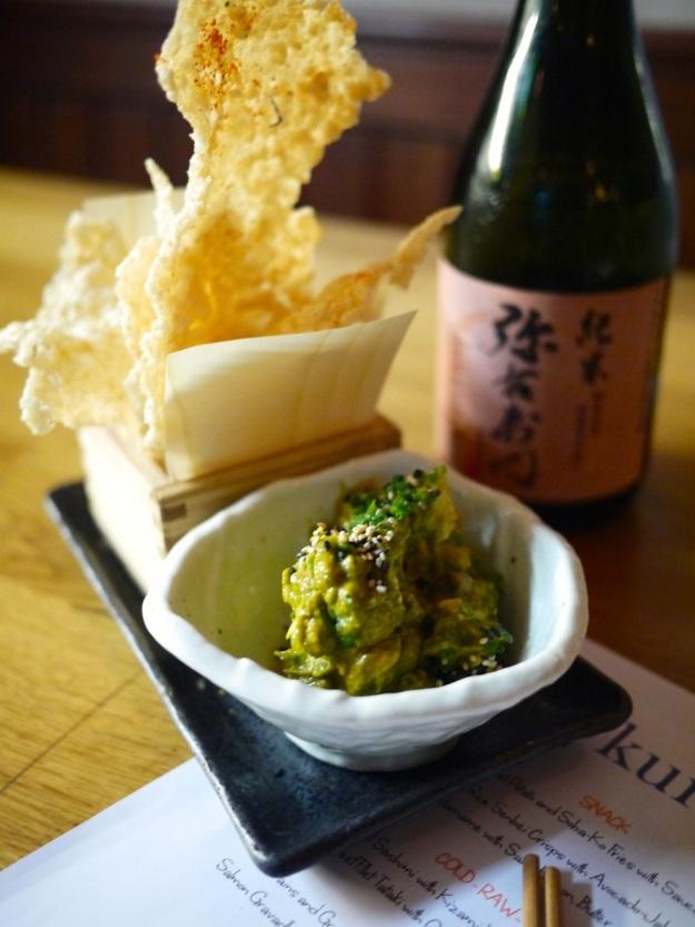 Crunchy Rice Senbei Crisps with avocado-jalepeno dip