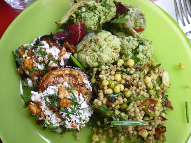 Roasted eggplant with walnut yoghurt, herbs and walnuts | Roasted cauliflower with wild garlic pesto, bitter leaves, parsley, chilli and toasted sourdough breadcrumbs | Green maftoul and moghrabieh with pistachios, friend onion, cumin and rocket