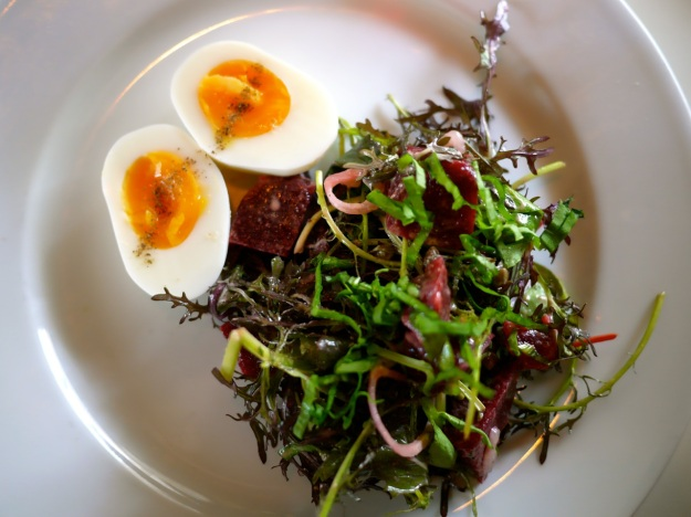 Beetroot, sorrel and boiled egg