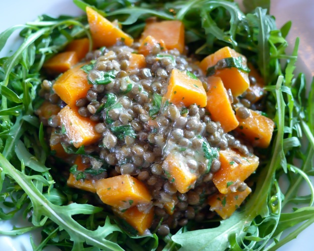 Butternut squash and garlicy lentils over rocket