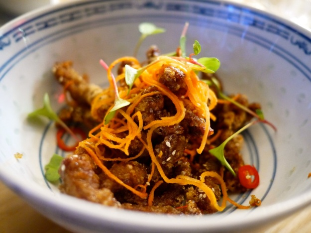 Crispy chilli, caramelised beef, pickled carrots