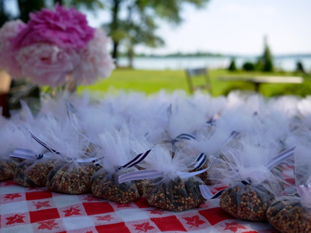 Birdseed pouches table
