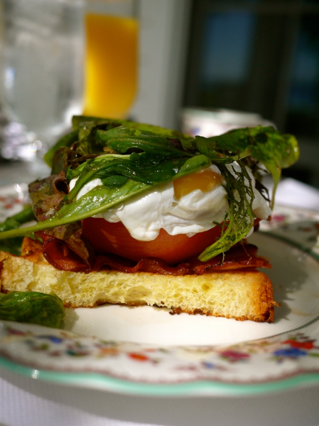 Hickory smoked bacon, roasted tomatoes, mixed greens,  cherry vinaigrette & fried eggs on brioche