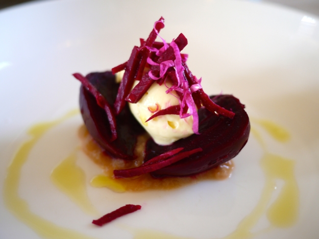 Salt baked beetroot, rhubarb and fresh cheese