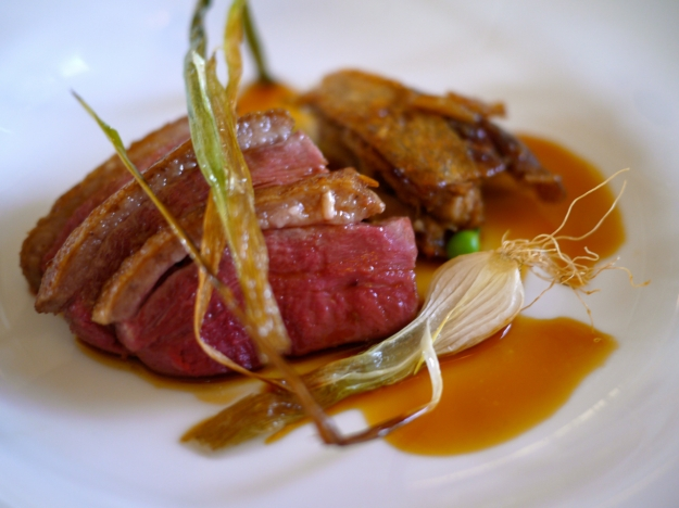 Roast breast confit leg of local Aylesbury duck with spiced roasting juices
