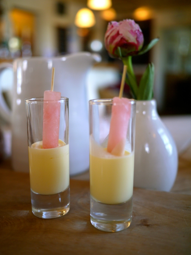 Rhubarb ice lolly with maderia cake milk