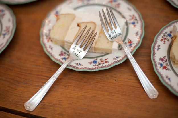 Sail & Anchor Wedding Cake Fork Set via Fancy