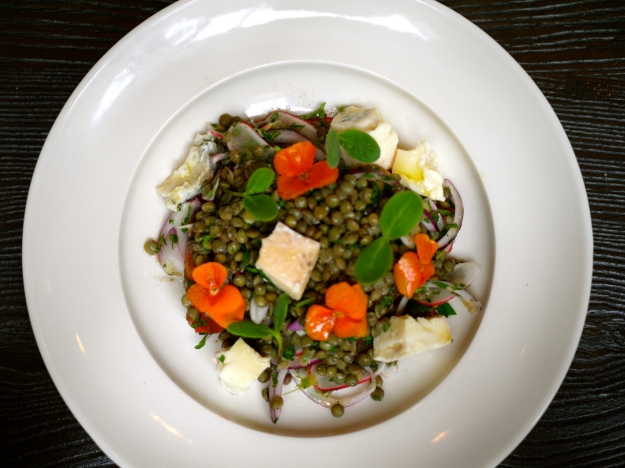 Lentil salad with gorgonzola and red onion