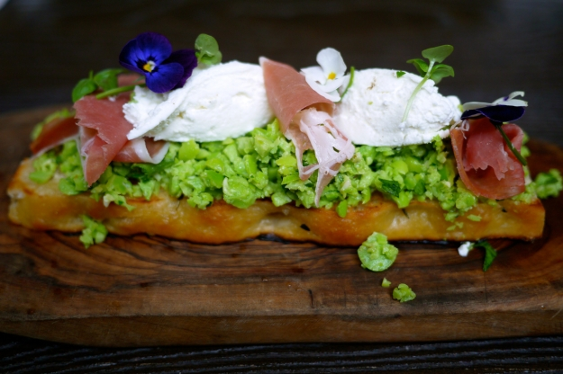 Bruschetta; smashed broad beans, whipped goat's curd, ham