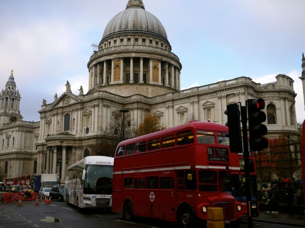 St Pauls Old Red Double decker bus London