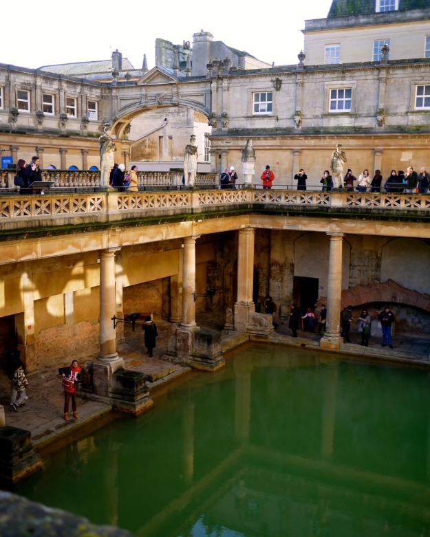 Bath Roman Baths View Down on Water