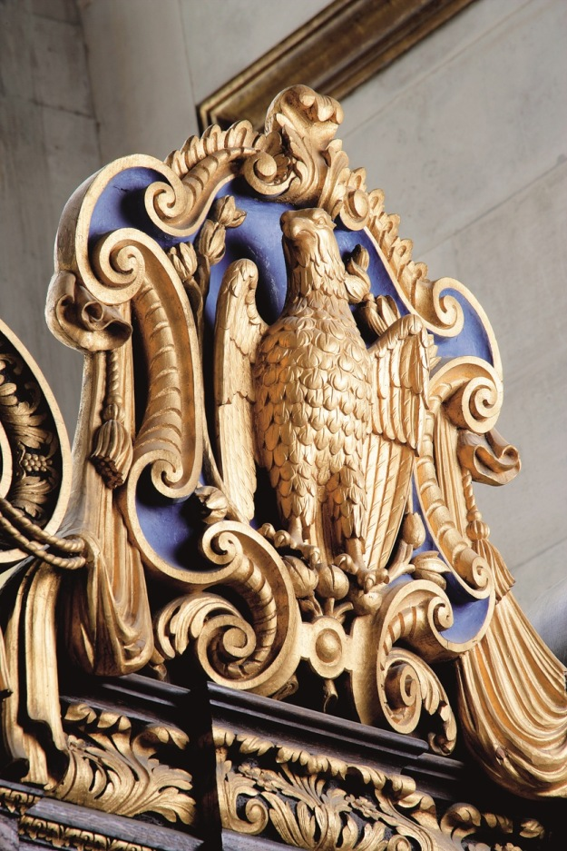 An American Bald Eagle above the altar in the American Memorial Chapel
