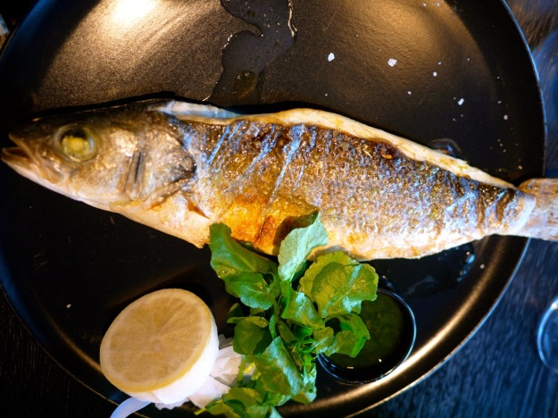 Roasted Mediterranean Sea Bass  with citrus, salsa verde