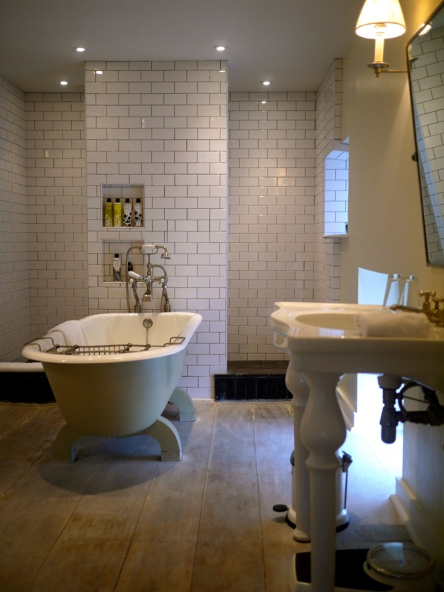 Babington House Room Bathroom Tub White Tile
