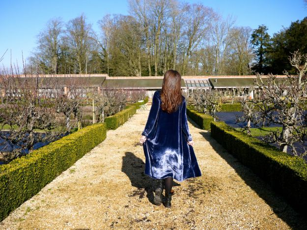 Babington House Walled Garden Cabbages and Roses Velvet Dress