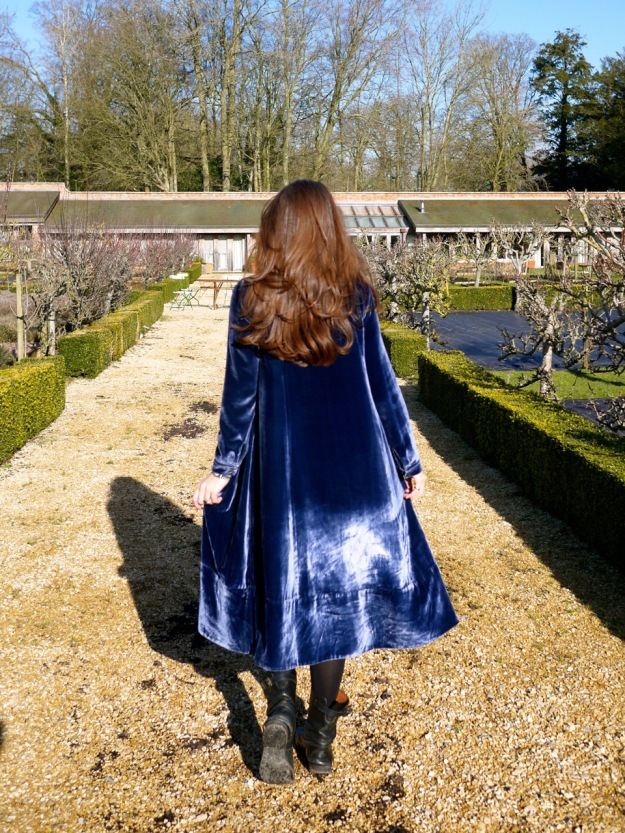 Babington House Walled Garden Spa Cabbages and Roses Blue Velvet Dress