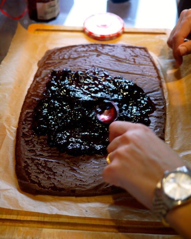 Cherry Chocolate Artic Roll Step 6 Spread