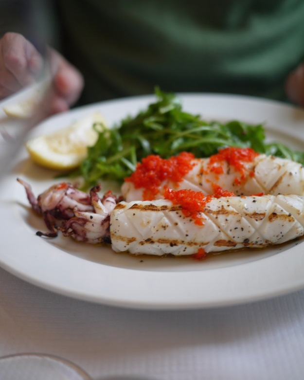 Calamari ai ferri - chargrilled squid with fresh chilli & wild rocket