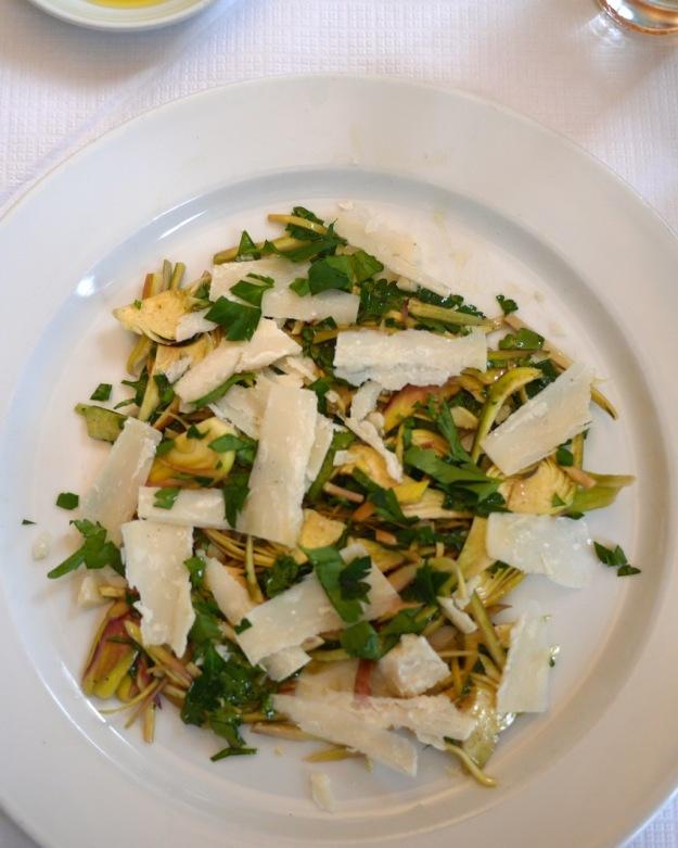 Insalata di Carciofi - raw Violetta artichoke salad with Parmigiano Reggiano