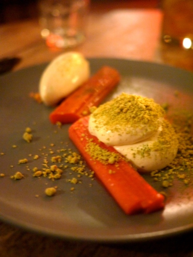 Yorkshire Rhubarb, Buttermilk Mousse with White Chocolate and Matcha Green Tea Crumb