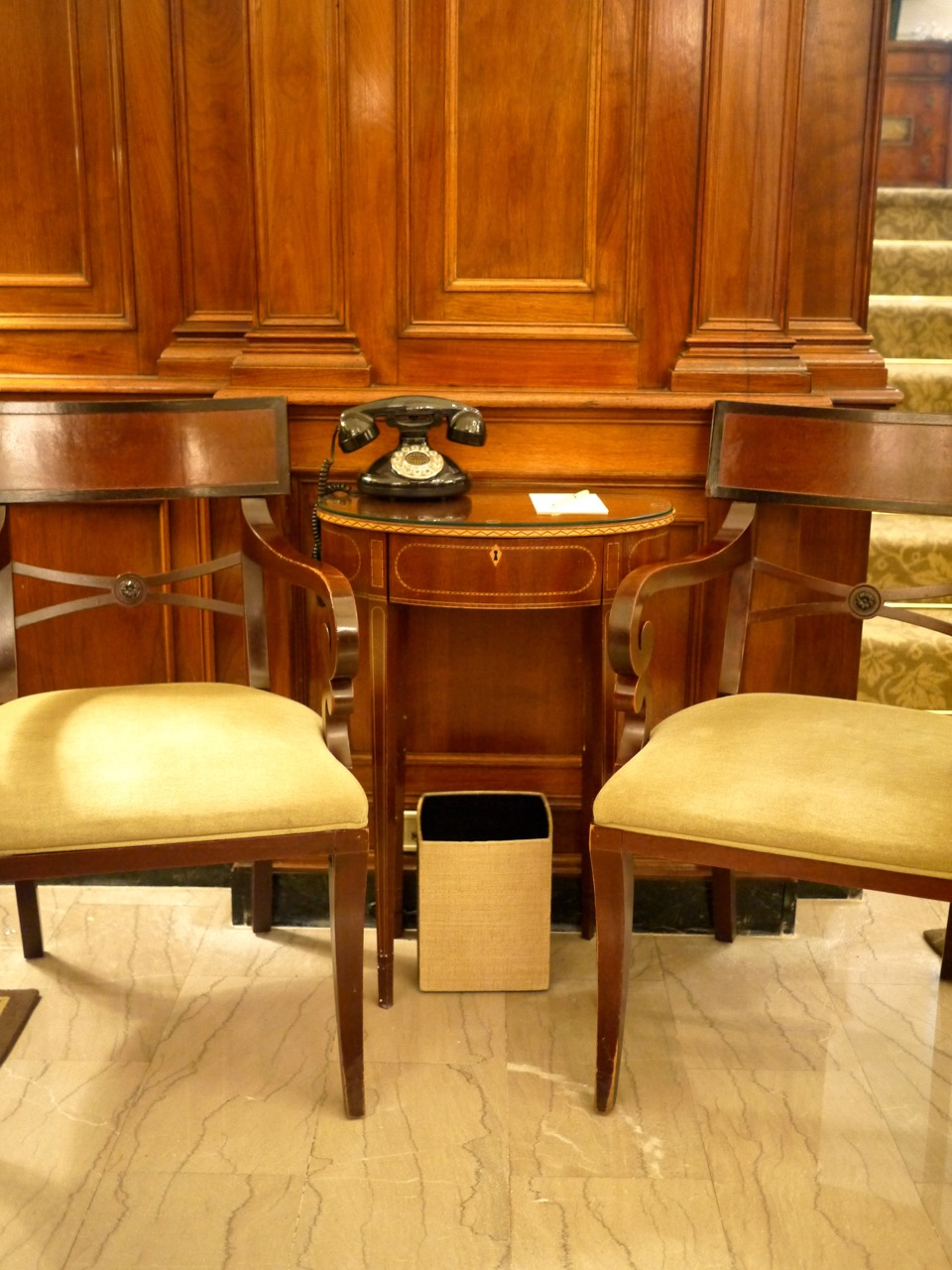 Hay Adams Lobby Telephone Table Chairs