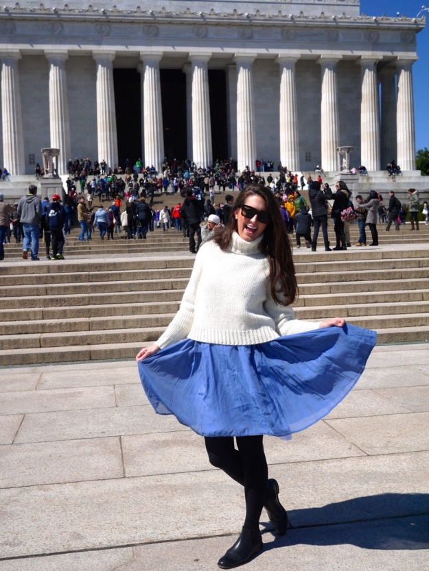 Washington DC Lincoln Memorial Cabbages and Roses Blue Dress