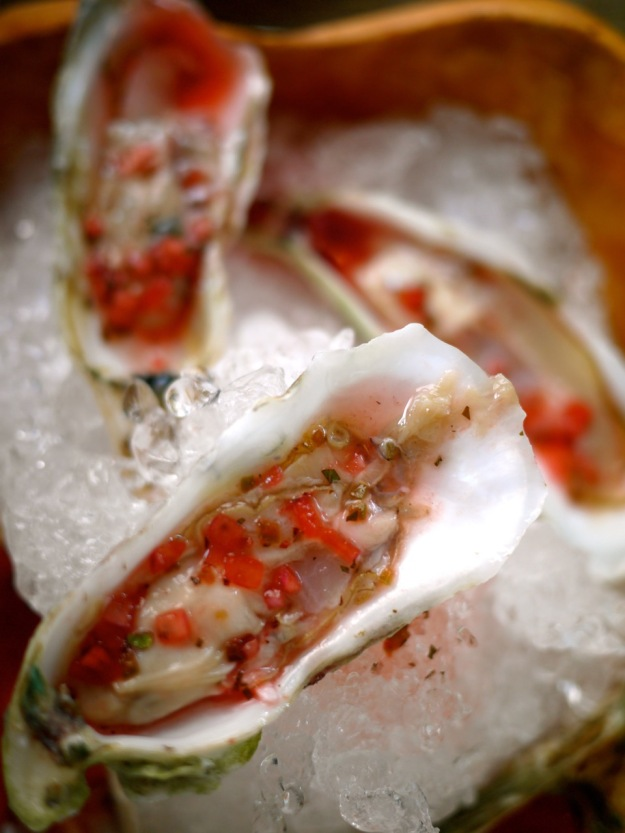 Charleston Husk Caper's Inlet Blade Oysters on the Half Shell, SC Strawberry Mignonette, Jalapeno Citrus