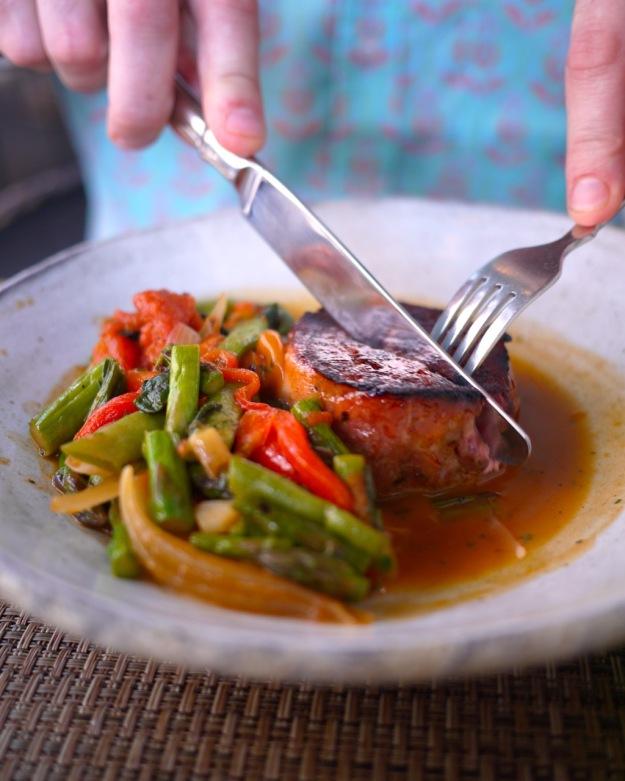 Cider Glazed SC Tamworth Pork, Grilled Asparagus and KY Wonder Beans, Charred Ramps, Smoky Tomato, Pot Likker