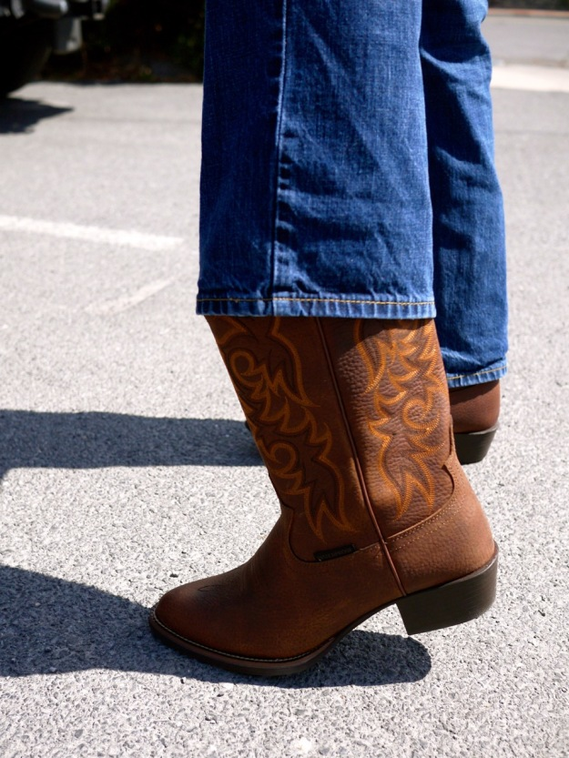Men's Cowboy Boots Brown Leather Stitching