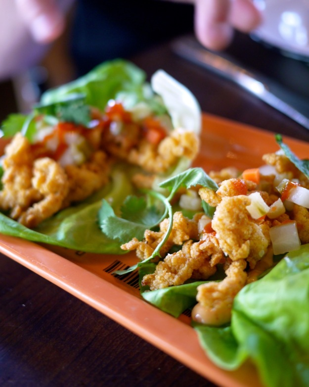 Fried Clam Lettuce Wraps, pickled vegetables, spicy mayo, fresh herbs