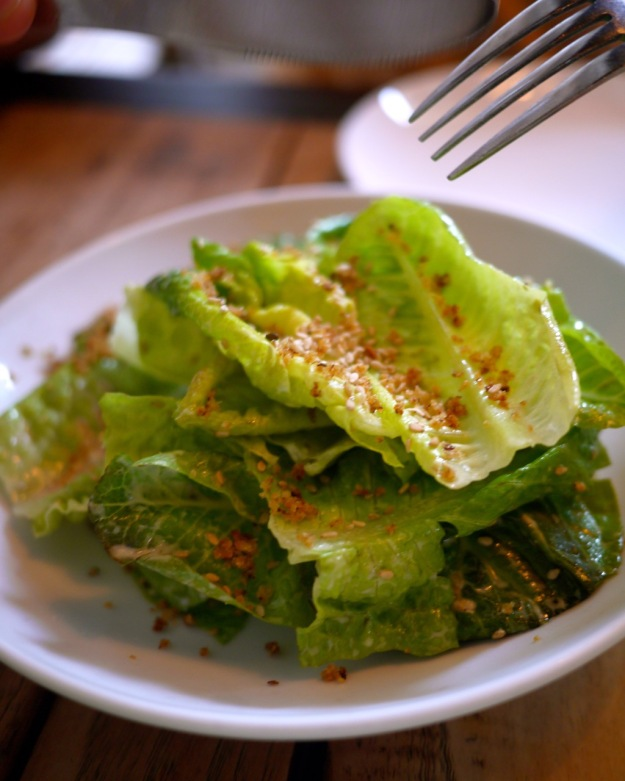 Lettuce, benne seed tahini, meyer lemon, breadcrumbs