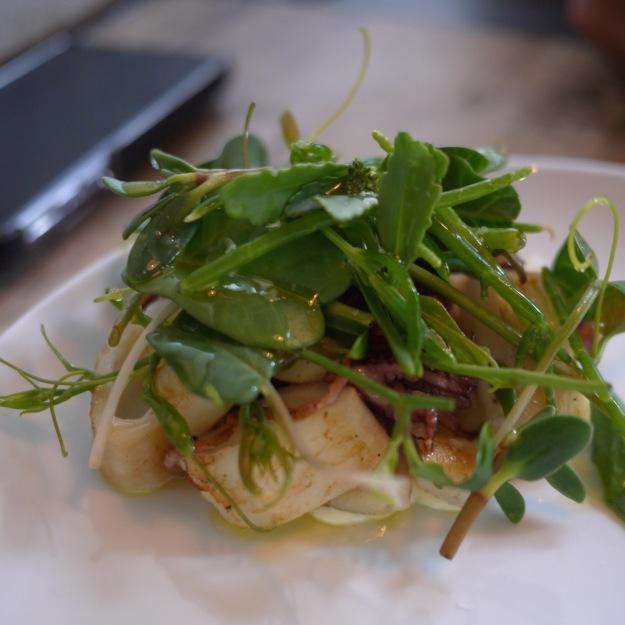 Squid Ala Plancha, aioli, wild greens