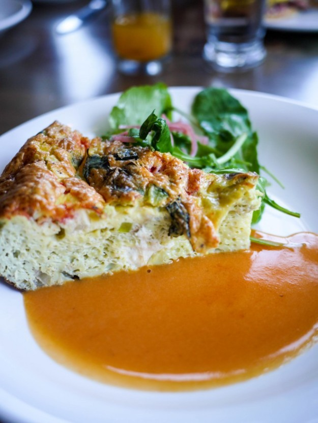 Seasonal vegetable frittata with basil and mozzarella