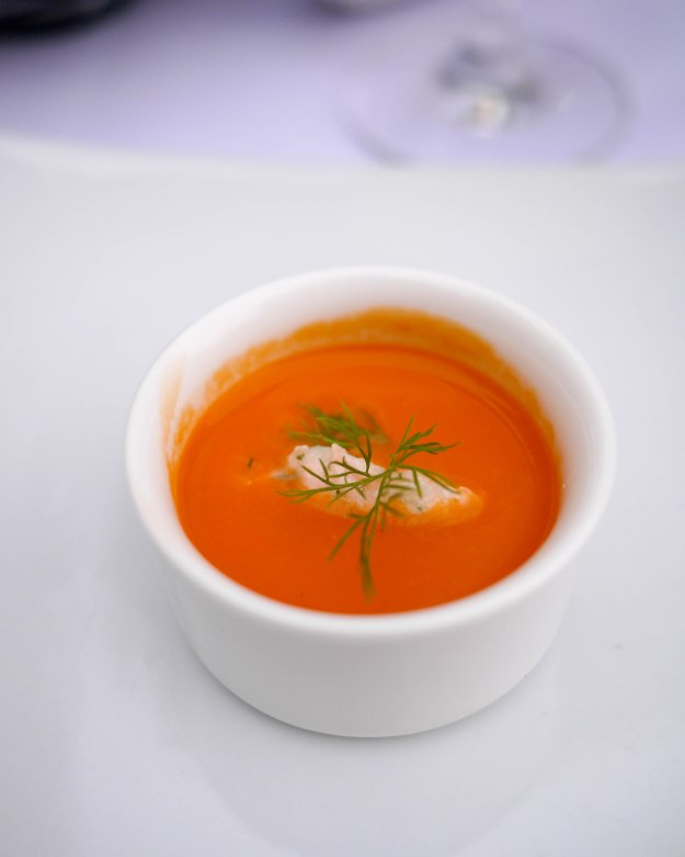 Chilled Tomato Soup with salmon rillette