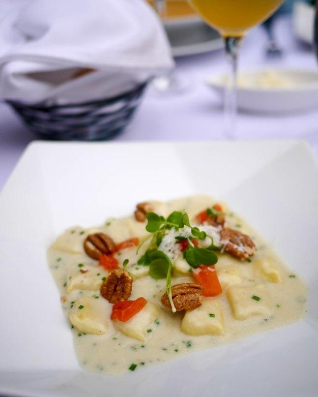 Gnocchi, Bleu d'Auvergne Fondue, sweet pecans, cherry tomatoes