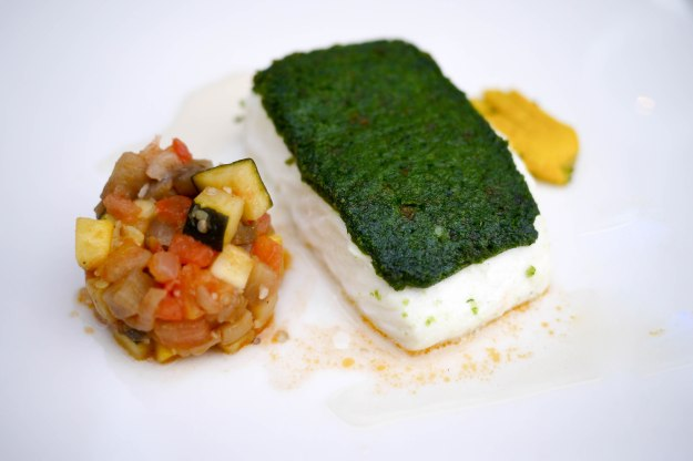 Herb Crusted Halibut, summer squashes, white wine sauce