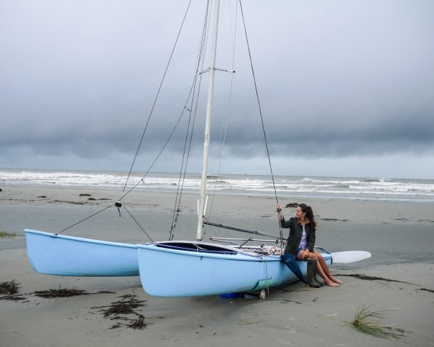 Hurricane Joaquin Sullivan's Island Flooding Beach Sailboat view