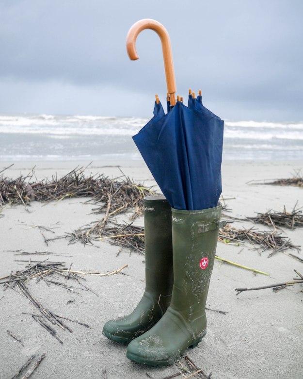 Hurricane Joaquin Sullivan's Island Flooding Beach Umbrella Wellies